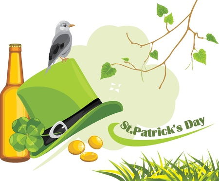 Congratulation with St  Patrick s Day Vector