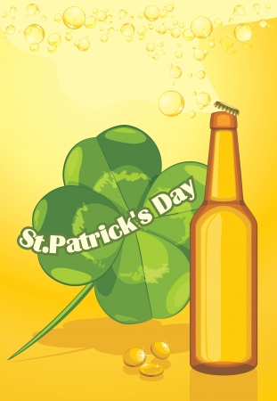 Beer bottle and clover leaf  Congratulation with St  Patrick s Day Vector