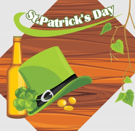 wooden hat: St  Patrick s Day hat and beer bottle on the wooden background