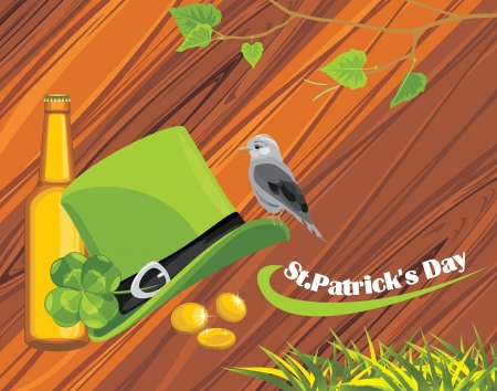 St  Patrick s Day hat, coins and beer bottle on the wooden background Vector