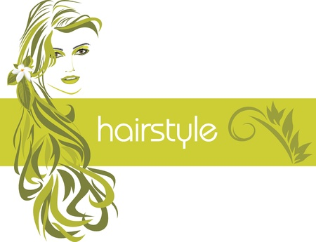 Female hairstyle. Decorative banner