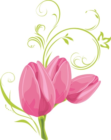 a sprig: Three pink tulips with decorative sprig