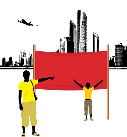 picket: Male silhouettes and demonstration banner on the cityscape background