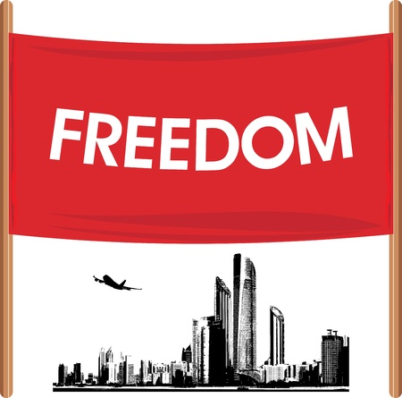 Demonstration banner on the cityscape background Vector
