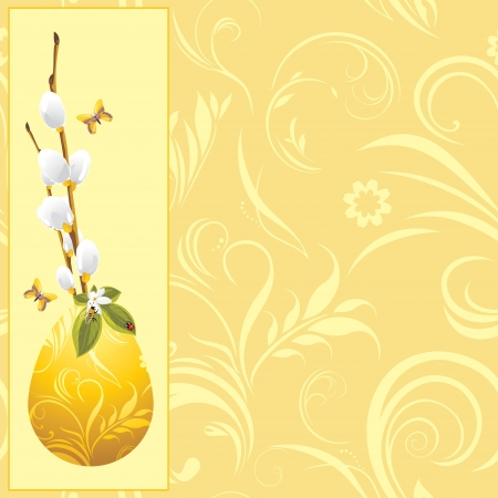 Easter egg and pussy willow branch on the decorative background Vector
