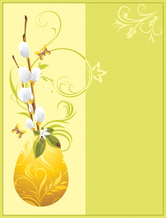 Easter egg and pussy willow branch. Decorative festive card Vector