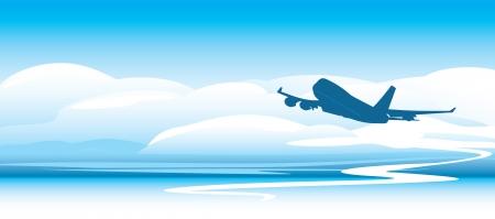 비행: 구름에 비행기의 실루엣