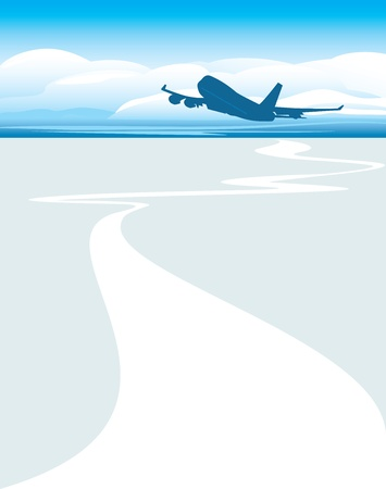 jet airplane: Silhouette of an airplane on the cloudscape background Illustration