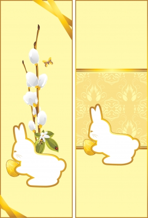 pussy willow: Festive Easter cards with bunny
