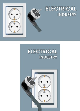 electric hole: Electrical industry. Two banners for design Illustration