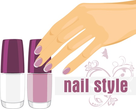 Female hand with manicure and nail polish. Banner for design Vector
