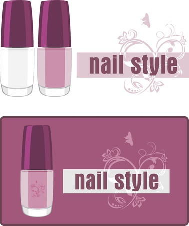 french manicure: Nail style. Two banners for design