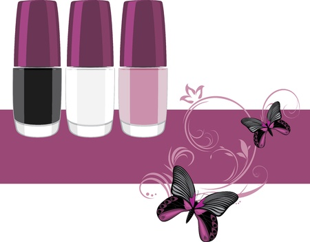 nail varnish: Three nail polish. Banner for design