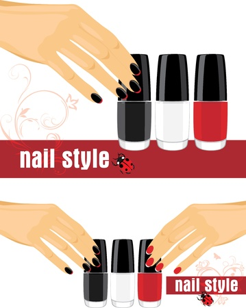 french manicure: Female hands with manicure and bright nail polish