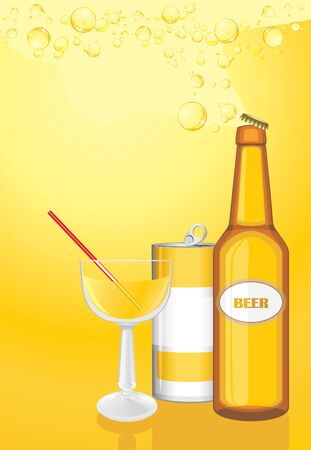 Cocktail, drink and beer bottle on the yellow background Stock Vector - 18558542
