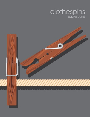 natural drying: Wooden clothespins on the dark gray background
