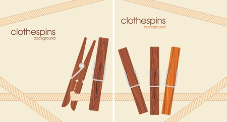 natural drying: Wooden clothespins. Background for design Illustration