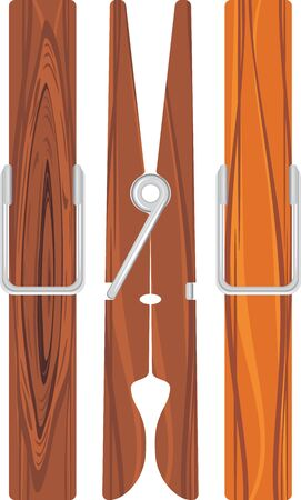 natural drying: Three wooden clothespins isolated on the white Illustration