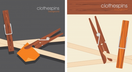 Clothespins. Backgrounds for design Stock Vector - 19025659
