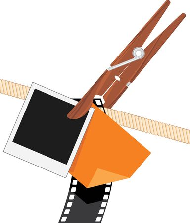 filmroll: Clothespin with photo objects on a rope