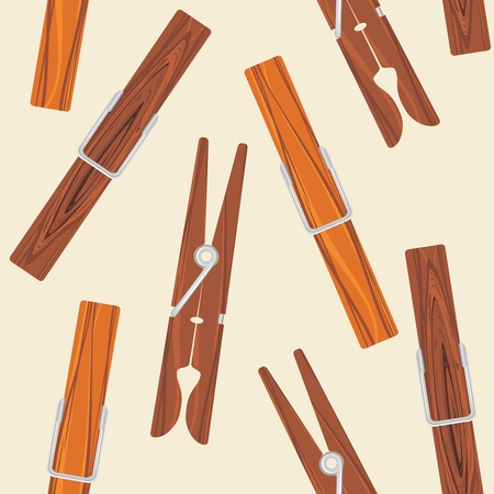 Wooden clothespins on the beige background Stock Vector - 19025660