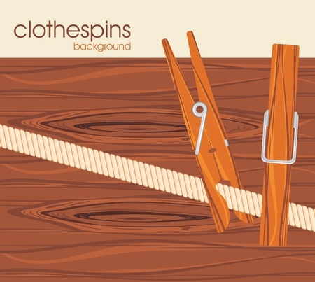 Clothespins on the wooden background Vector