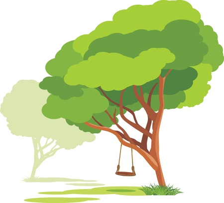 Empty swings on a spring tree Vector