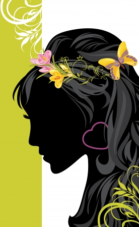 Summer female hairstyle  Decorative banner for design Stock Vector - 19317218