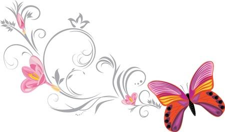 a sprig: Mariposa brillante con una ramita en flor ornamental