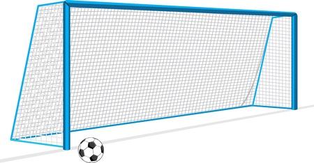 portero: Balón de fútbol y la puerta aislados en el blanco