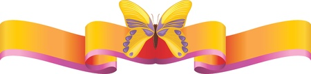 butterfly isolated: Yellow butterfly on the bright ribbon