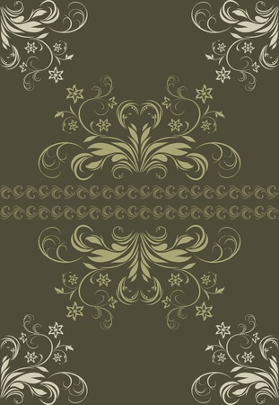 Ornamental dark green background Vector