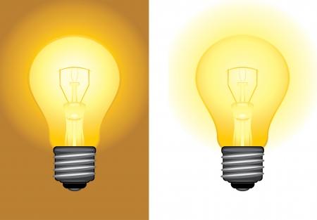yellow bulb: Glowing light bulbs