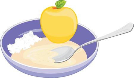 오트밀, 두 부와 사과 그릇 일러스트