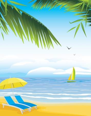 Empty deckchairs with beach umbrella on the seascape background Vector