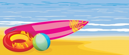 surf board: Tabla de surf, pelota de playa y el colch�n de la nataci�n en el paisaje marino