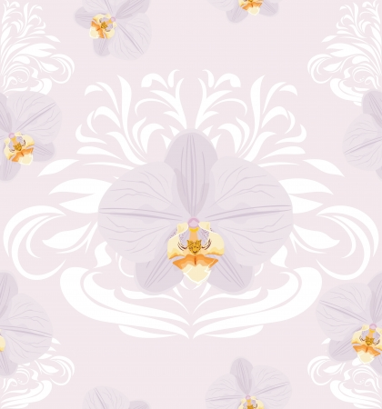 Ornamental background with blooming orchids Vector
