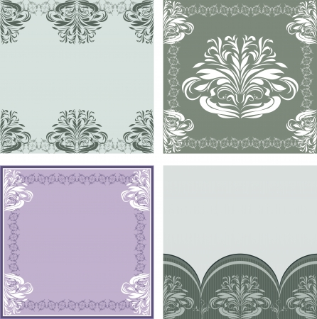 Four ornamental elements for design. Frames and borders Vector