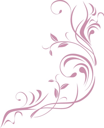 swirly design: Ornamental floral element for design isolated on the white
