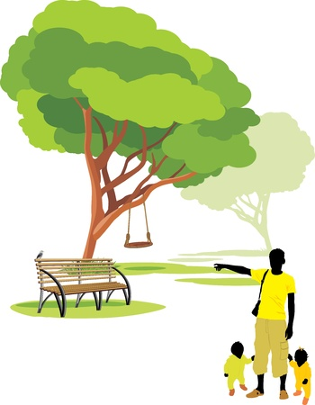 garden bench: Father with babies in park Illustration