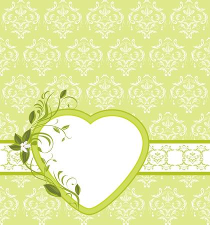 a sprig: Blooming ramita con el coraz�n en el fondo ornamental