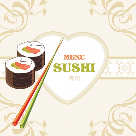 Sushi rolls and chopsticks  Label for menu design Vector