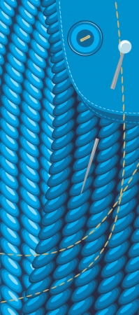 crewel: Sewing set on the blue fabric background