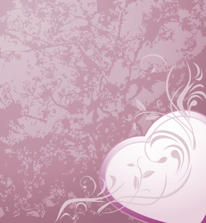 sprig: Heart with ornamental sprig on the abstract violet background