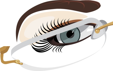rimless: Fragment of female face in classic glasses Illustration