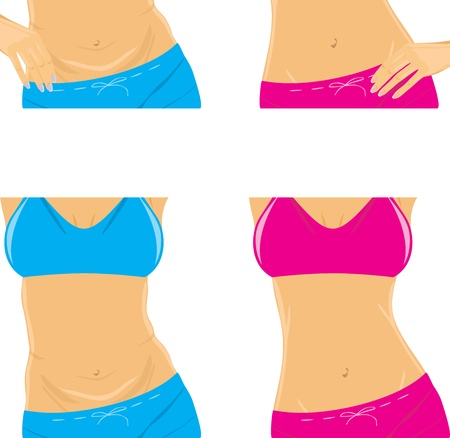 body parts: Belly and slim waist  Female body parts