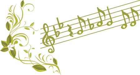 a sprig: Las notas musicales con la puntilla ornamental