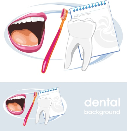 carious: Dental concept  Icon and banner for design Illustration