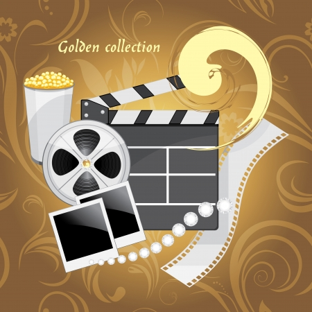 film industry: Film industry objects  Golden collection Illustration