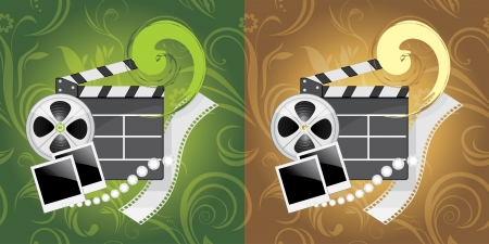 film industry: Film industry objects on the ornamental background
